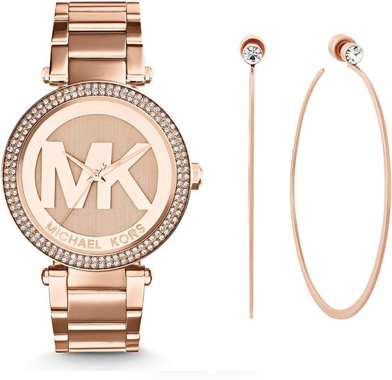 Amazon.com: Michael Kors Women's Parker Rose Gold-Tone Watch MK5865 & Michael Kors Rose Gold Tone Modern Brilliance Hoop Earrings: Watches