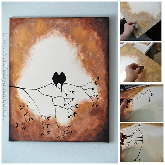 Learn how to paint these beautiful sihouette birds on a branch on ordinary canvas. Step by step tutorial!