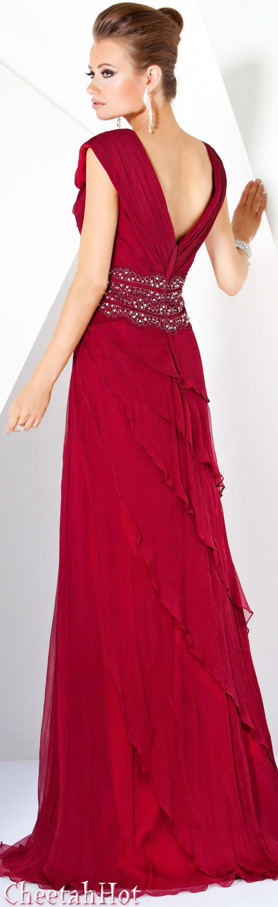 JOVANI - Authentic Designer Dress - Beautiful Long Red Gown ...