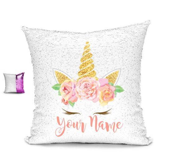 Personalized Unicorn Pillow Rose Gold Pillow Personalized Unicorn Pillow Sequin Changing Pillow Personalized Pillow 16x16 Pillow