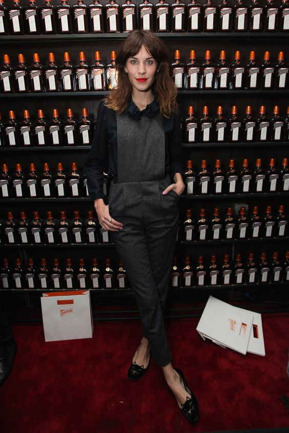 Alexa Chung wore Topshop overalls at the La Maison Cointreau debut in New York City
