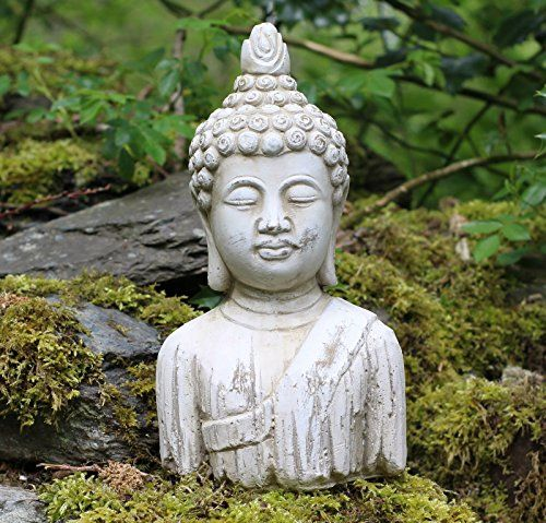 Home Garden Bouddha Assis En Ceramique Effet Bois Use Statue