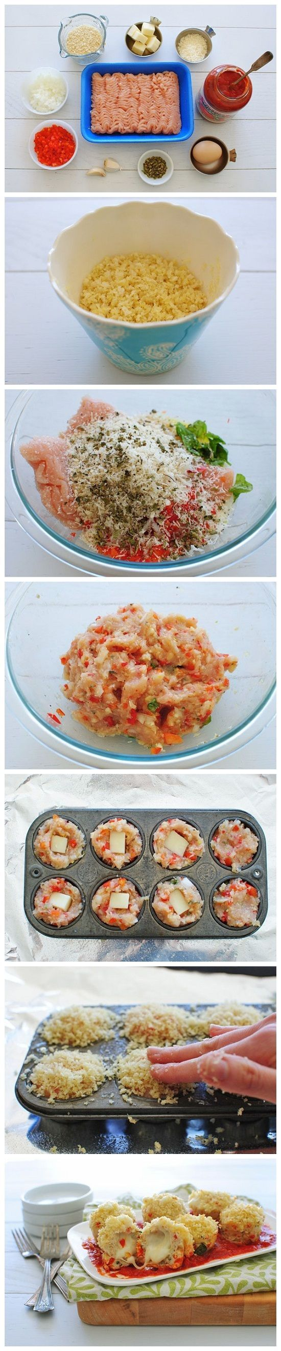 Brownie Pan -or- Stoneware Muffin Pan -- Mini Chicken Parmesan Meatloaf Cupcakes