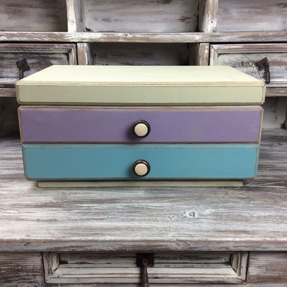 COLORFUL STORAGE BOX Craft Storage Apothecary Box by ShabbyShores