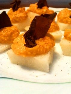 Jicama with roasted red pepper hummus and dulse