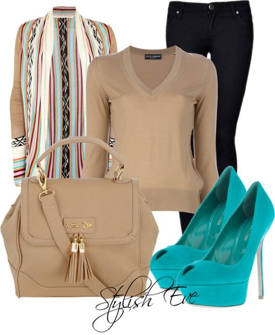 """Turquoise and Beige Outfit !"" by stylisheve ❤ liked on Polyvore"