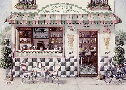 Goodies Ice Cream Parlor A Painting Of An Old Fashioned