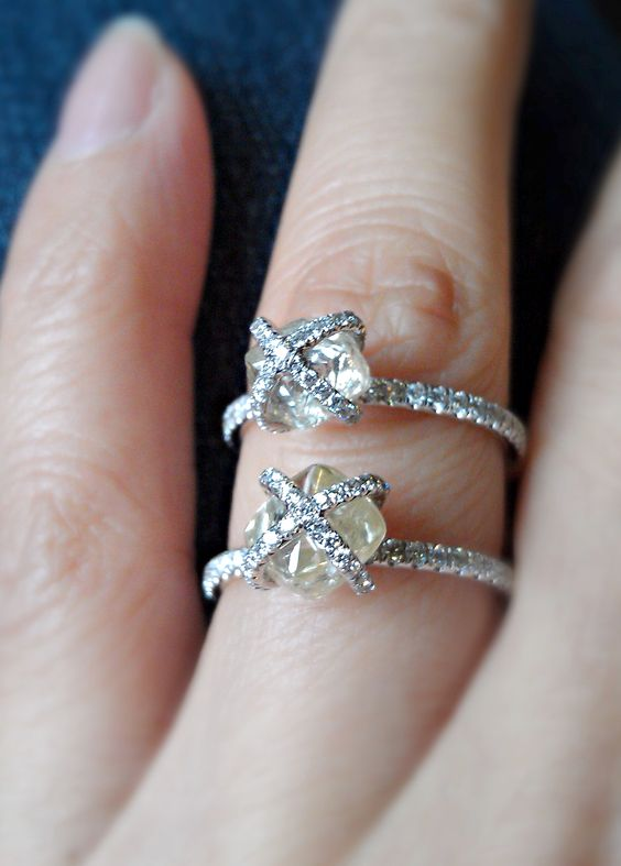 2ct and 278ct natural rough diamond rings from the