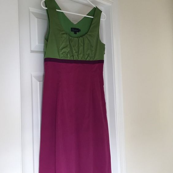 "Gorgeous colorblock Boden dress Tank dress of kelly green and fuchsia with purple grosgrain ribbon at empire waist. Cotton elastane blend lined in green cotton. Side zip. Slight gathering at bust. Measures approximately 40"" from shoulder. UK12 which is US8. Boden Dresses Midi"
