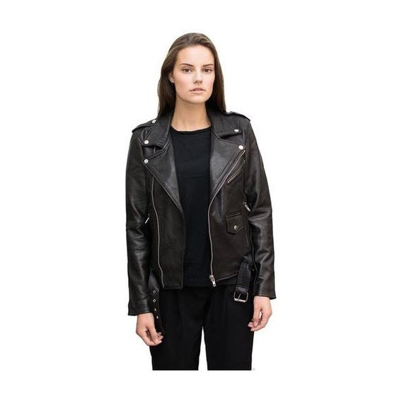Deadwood Recycled Leather Biker Jacket ($280) ❤ liked on Polyvore featuring outerwear, jackets, leather biker jacket, biker jacket, patch leather jacket, leather motorcycle jacket and leather jacket
