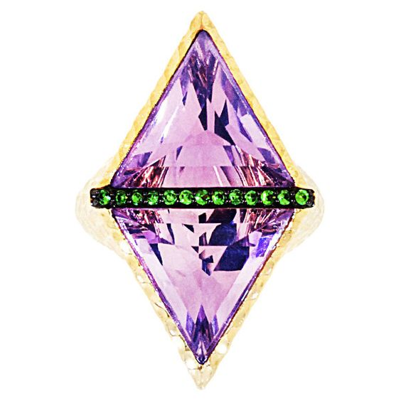 Phillips House Amethyst & Tsavorite No. 3 Double Take Ring (2,170 CAD) ❤ liked on Polyvore featuring jewelry, rings, purple, green garnet ring, 14 karat gold jewelry, wide rings, amethyst band ring and demantoid garnet jewelry