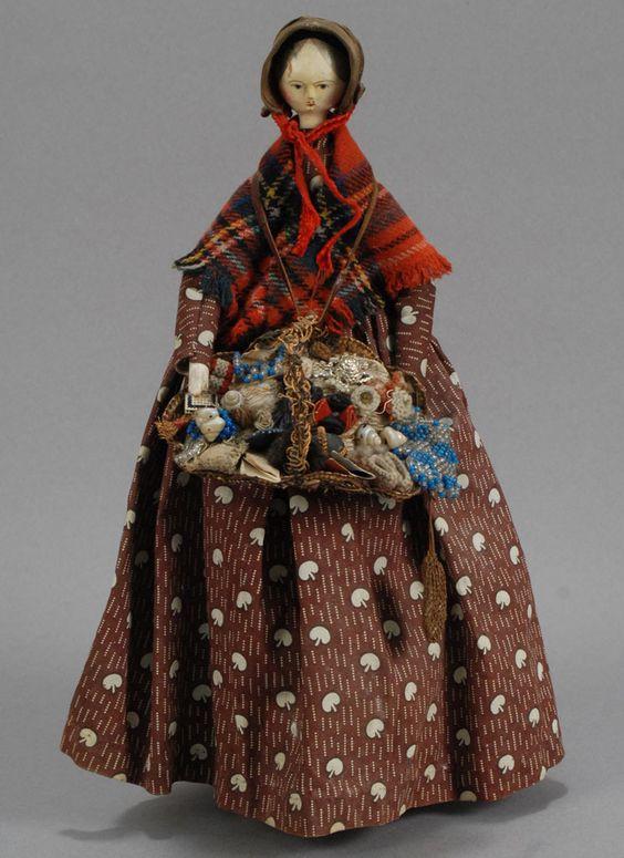 Grodnertal Wooden Peddler Doll