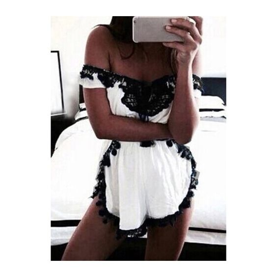 Rotita White Lace Stitching Short Sleeve Mini Rompers ($21) ❤ liked on Polyvore featuring jumpsuits, rompers, white, short sleeve rompers, patterned romper, playsuit romper, white romper and long-sleeve romper