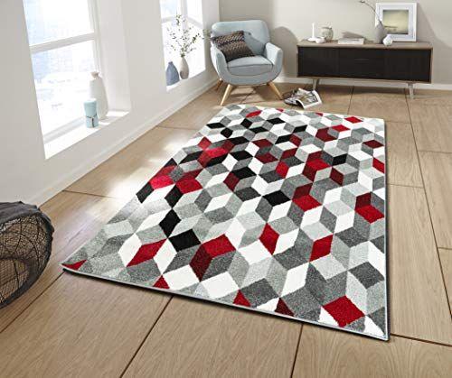Tapis Design Moderne Poil Court Trendy Violet Cr/ème Mouchet/é Dimension:60x100 cm