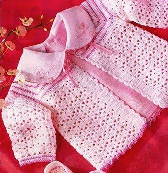Delicadezas en crochet Gabriela: Saco rosa de bebé y otro modelo más