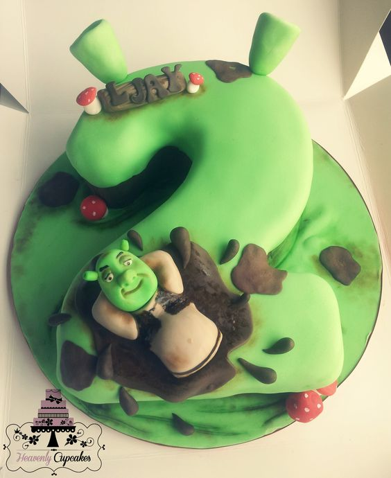 Shrek themed number cake