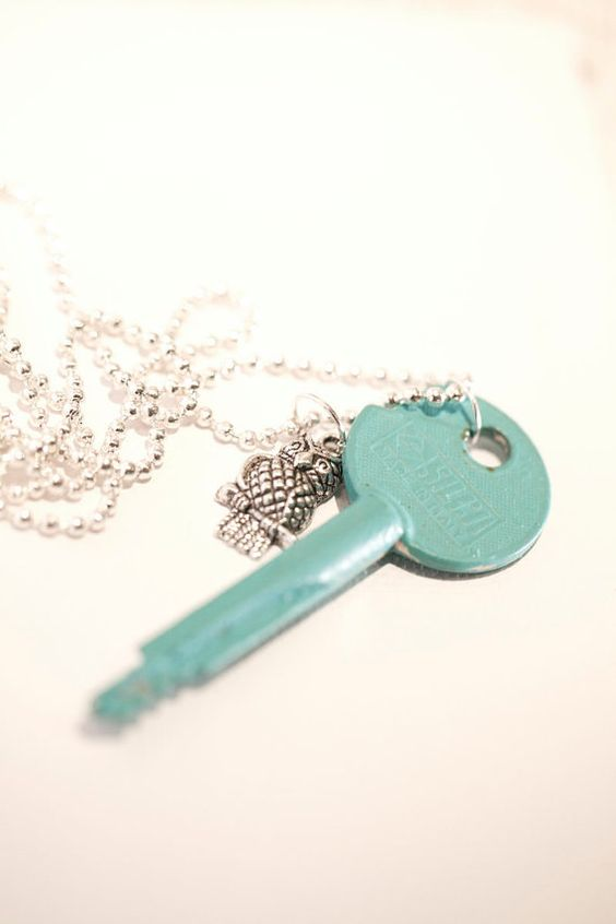 Large Turquoise Key with small owl