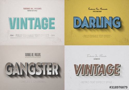 Retro Text Effect Mockup Bundle In 2020 Retro Text Text Effects Vintage Text