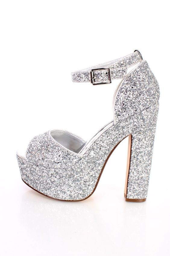 Silver Chunky Platform 6 Inch High Heels Glitter | Shoes heels