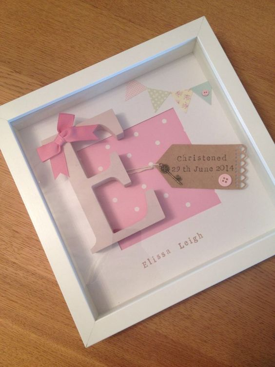 Baby Gift Ideas With Name : Personalised baby girl frame birth christening gift