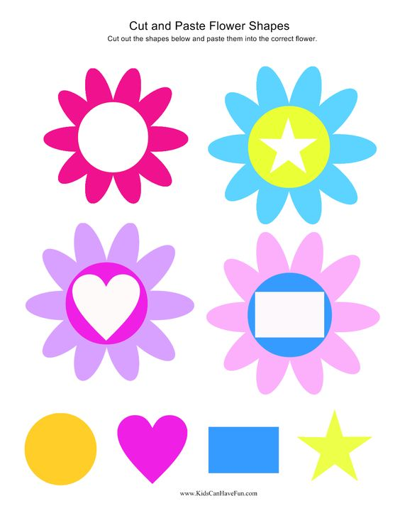 Cut and Paste Flower Shapes | Cut and Paste Worksheets, Activities ...