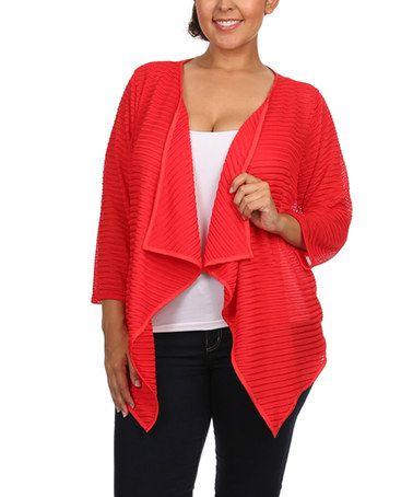 Look at this #zulilyfind! Red Sheer Ribbed Open Cardigan - Plus #zulilyfinds