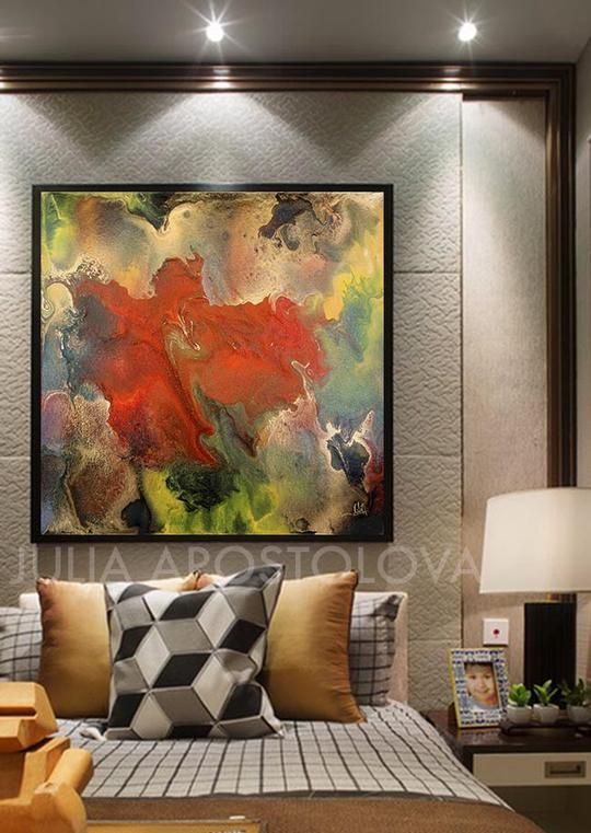 Floral Abstract Wall Art Modern Painting Canvas Print Contemporary Home Art Decor Julia Apostolova Floral Abstract Wall Art Modern Wall Art Canvas Abstract Wall Art