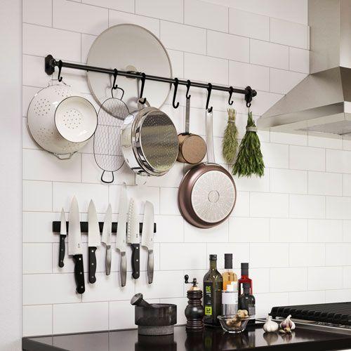 Ikea Kitchen Wall Storage Fintorp Rail Black Kitchen