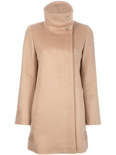 Beige camel hair 'Ateneo' coat from Max Mara featuring an off centre closure, funnel neck with button fastening, long sleeves and full lining.