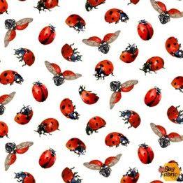 Sunflowers: Ladybugs White - Elizabeth's Studio 488white