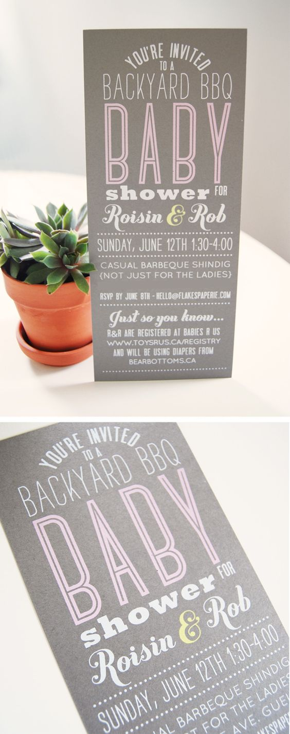 Screen-printed baby shower invitations.