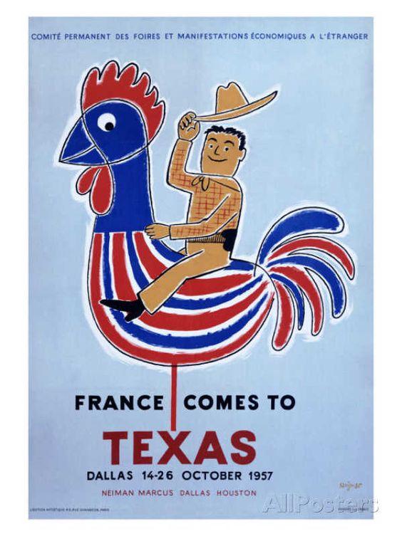 France comes to Texas, 1957 reproduction procédé giclée par Raymond Savignac sur AllPosters.fr