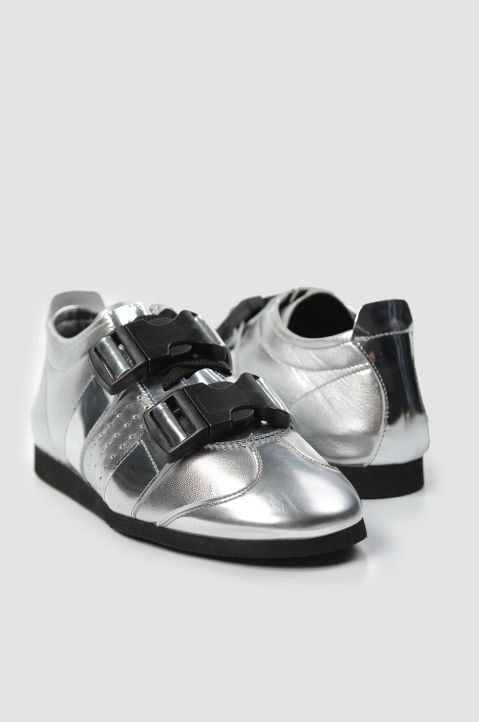 J.W. ANDERSON Buckled Silver Trainers
