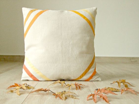 Fall pillow cover 18x18 two stripes of two shades by acountrystory, €30.00