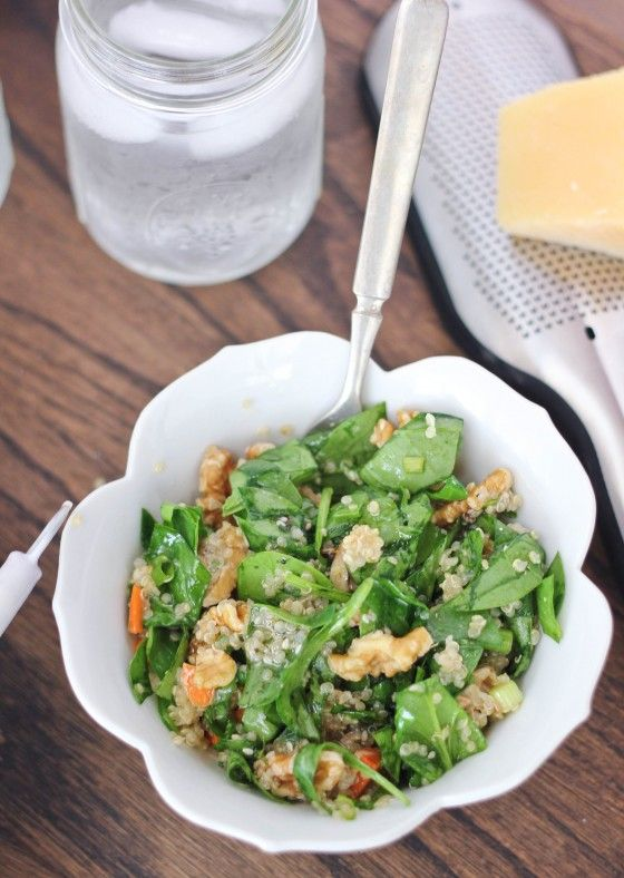 Toasted Walnut Quinoa Spinach Salad by bakeyourday