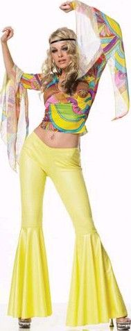 SATURDAY NIGHT FEVER COSTUME , YELLOW FLARES  BELL SLEEVED TOP