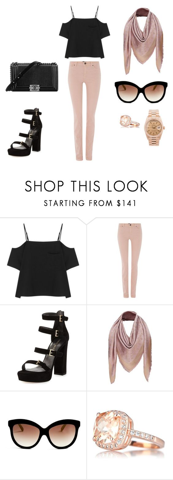 """""""black rose summer look"""" by tlove1612 on Polyvore featuring Mode, T By Alexander Wang, Oui, Stuart Weitzman, Chanel, Louis Vuitton, Italia Independent und Rolex"""