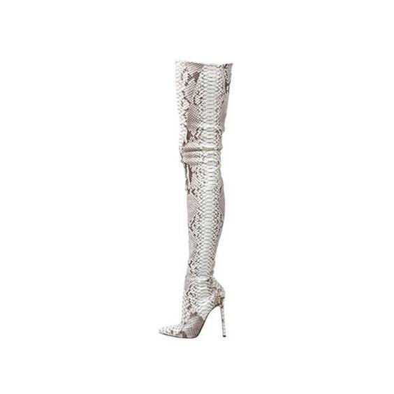 thigh high christian louboutin python boots