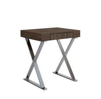 "27"" Modern Walnut Desk with Stainless Steel Frame"