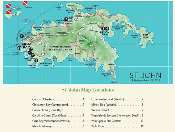 Driving Map Of St John In The US Virgin Islands Travel - Us virgin islands map
