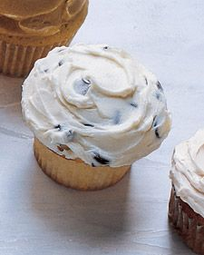 Chocolate chip cupcakes with chocolate chip frosting.
