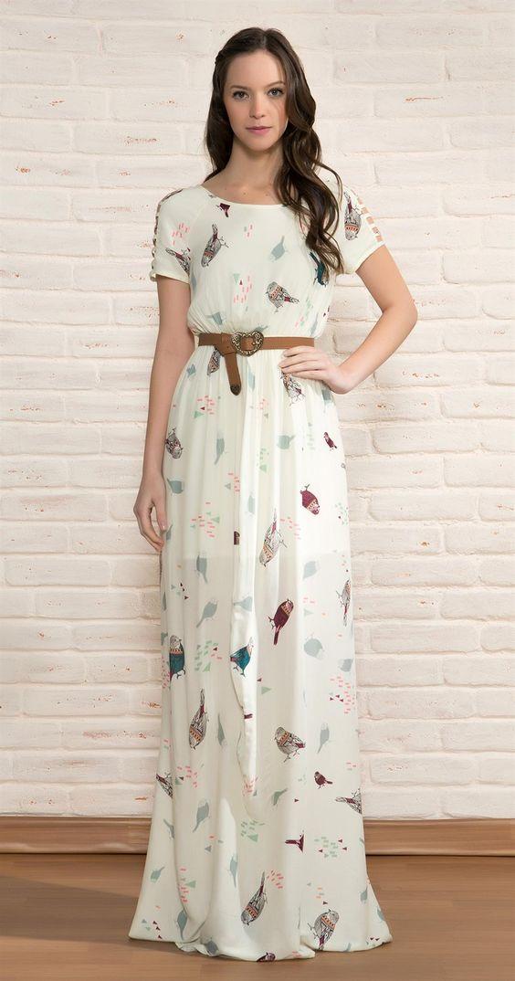 Vestido Longo Pássaros Étnicos   Vestuário   Antix Store