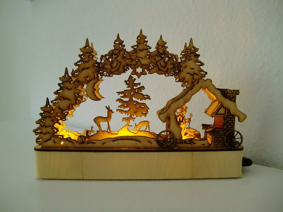 Lasercut candle arch schwibbogen schmiede by jtronics for Arch candle christmas decoration