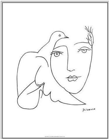 """""""Face  Dove"""" dessin de Pablo Ruiz Picasso (1881-1973) peintre, dessinateur et sculpteur espagnol ayant passé l'essentiel de sa vie en France."""