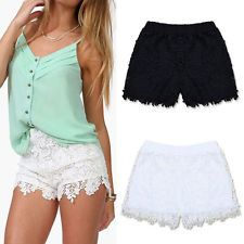 Sexy Summer Women Shorts Elastic High Waist Lace Shorts Fashion Short Pants: