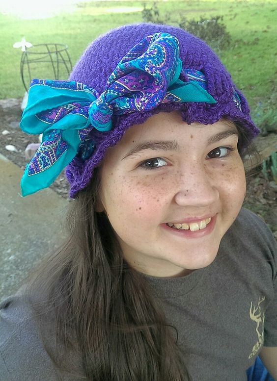 Chemo caps. Available in any size and color. Scarf included. Can be worn as a bow, or under the ear Romani style. $12 + shipping. Delta Belle Crochet and More by Brandylin Pensis.