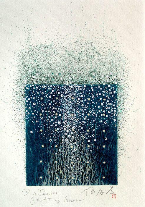 Emitting Green 16.Dec.2010 - Painting, collage on original printed paper - 林孝彦 HAYASHI Takahiko