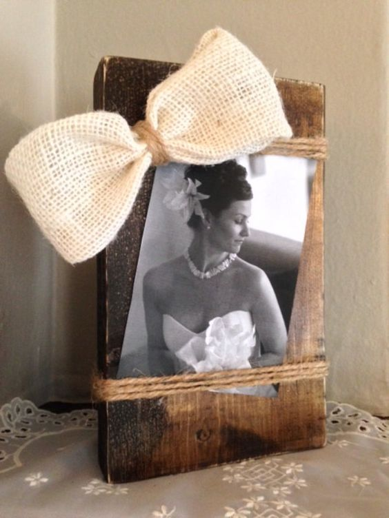 wood photo holder,shabby chic, cream, burlap bow, distressed, rustic wedding, twine, country, baby gift by Justasmalltowngirlx2 on Etsy