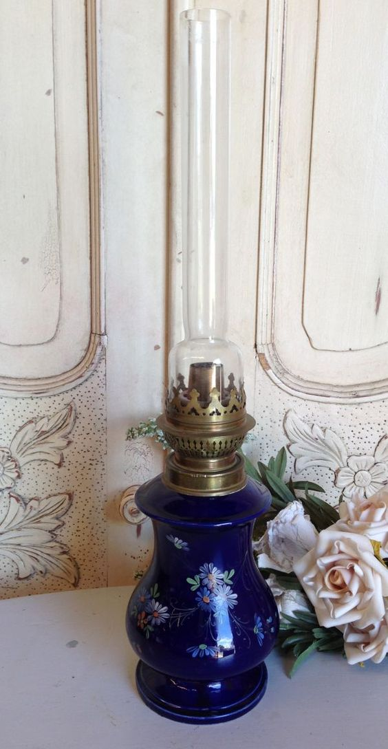 Antique French Cobalt Blue Floral Rare Porcelain  Oil Lamp