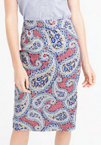 Pink and Navy Paisley Pencil Skirt